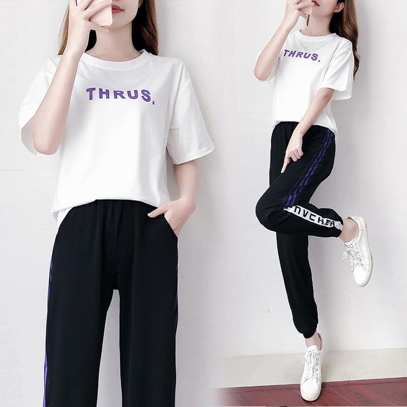 318#【实拍】2020年套装女时尚减龄显瘦气质运动休闲两件套夏装 -