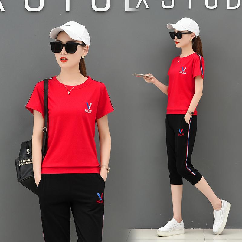 【实拍】夏天短袖运动两件套装女圆领T恤套头七分裤休闲跑步显瘦 -