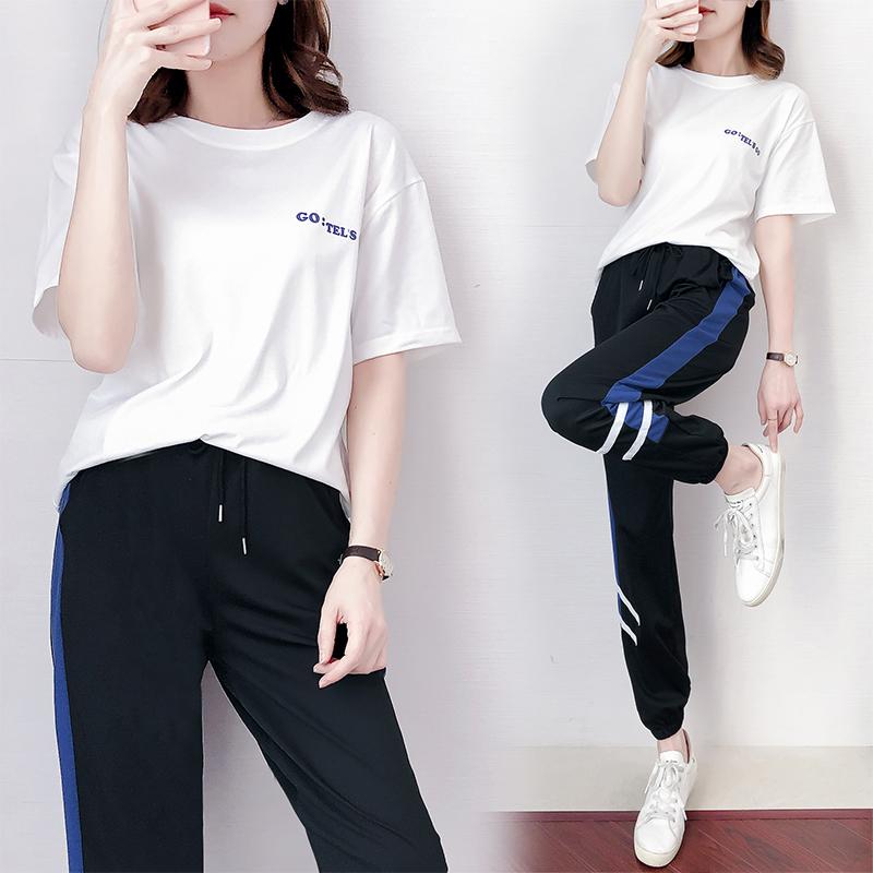 311#【实拍】运动套装女夏季新款时尚宽松短袖长裤学生休闲两件套 -