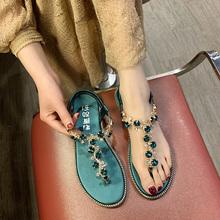 罗马凉鞋女夏2y5421年新5v女风淑女平底水钻的字夹脚沙滩女鞋