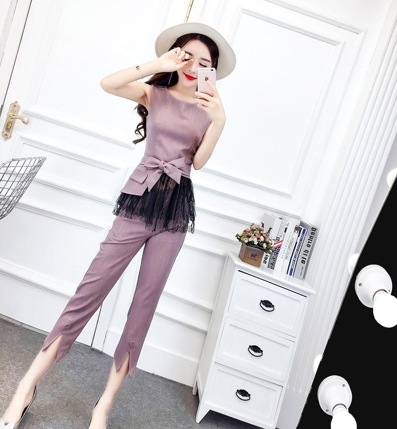 网红套装2019夏季新款时尚蕾丝上衣背心+高腰九分裤洋气两件套女