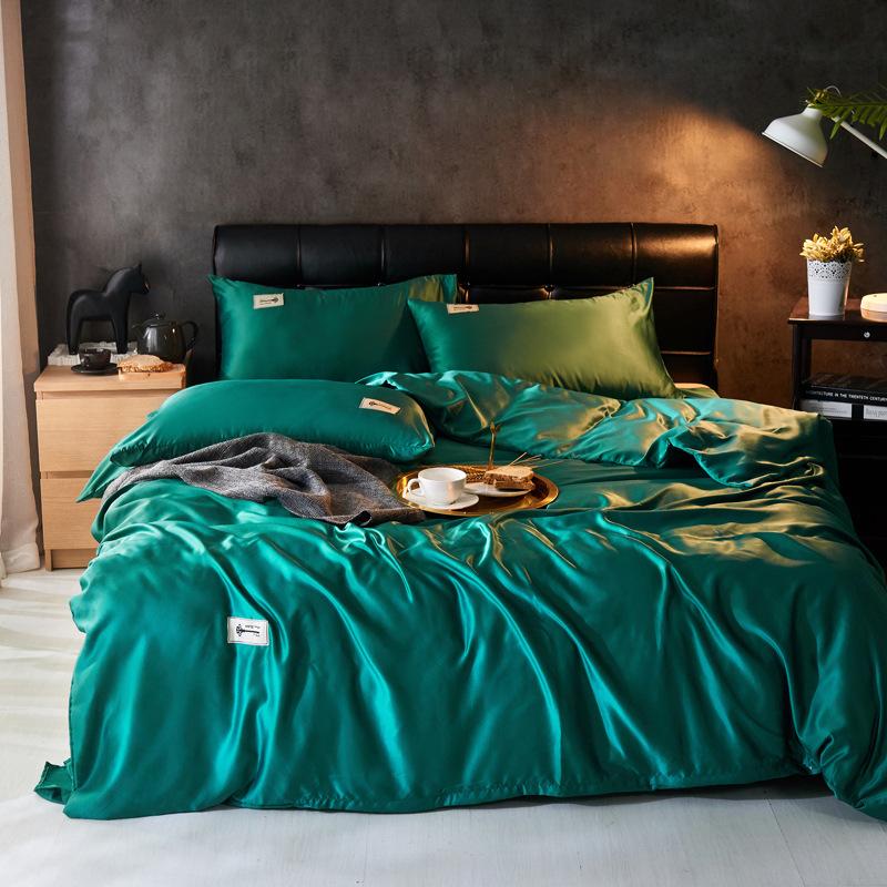 四件套双面真丝被套床单纯色单双人床上用品天丝四件