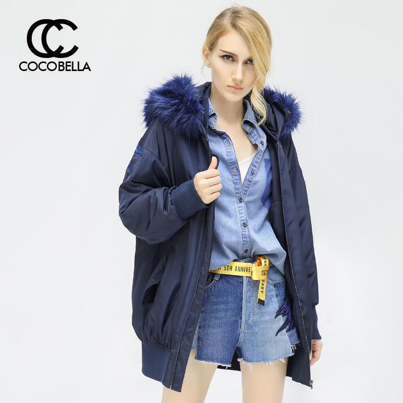预售COCOBELLA翅膀刺绣飞行员夹克中长款大毛领保暖棉服外套CT712