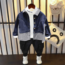 童装儿bo0男童20ne新式宝宝柔软洋气牛仔拼接格子衬衫上衣外套