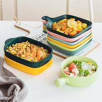 盘子创意北欧餐具烤箱专用焗饭烤盘烤碗网红盘子菜盘家用早餐碟子