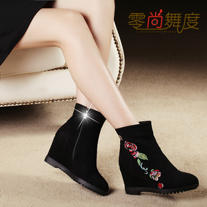 Zero-dance dance 2019 autumn and winter new short boots women's wedge heel platform Martin boots retro embroidered high-heeled embroidered boots