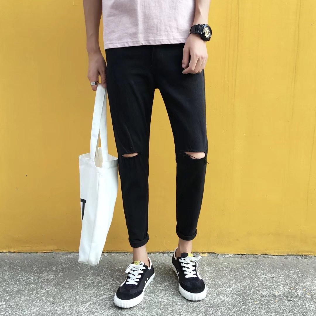 一字破洞牛仔裤男生裤子夏季2018新款韩版潮流修身小脚男士九分裤