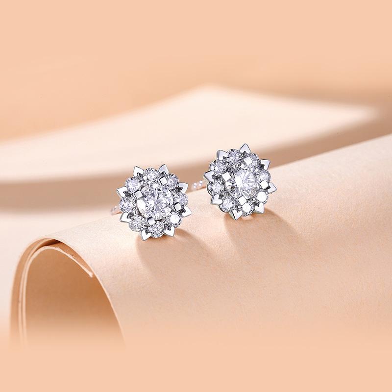喜钻 钻石耳钉女真钻白金耳环50分六爪送礼彩金砖石18K金四爪耳饰