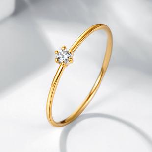 喜钻 18K金小钻戒钻石戒指轻奢彩金女碎钻砖戒玫瑰金圆形小指尾戒图片