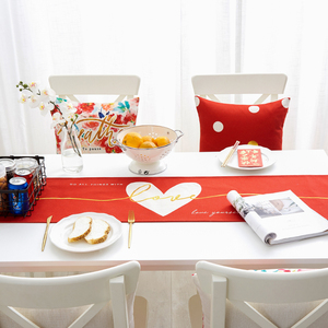 Red Dot Table Flag New Year Wedding Room Cotton Linen Tablecloth TV Coffee Table Tablecloth Multi-purpose Covering Cloth Table Flag Bed Flag