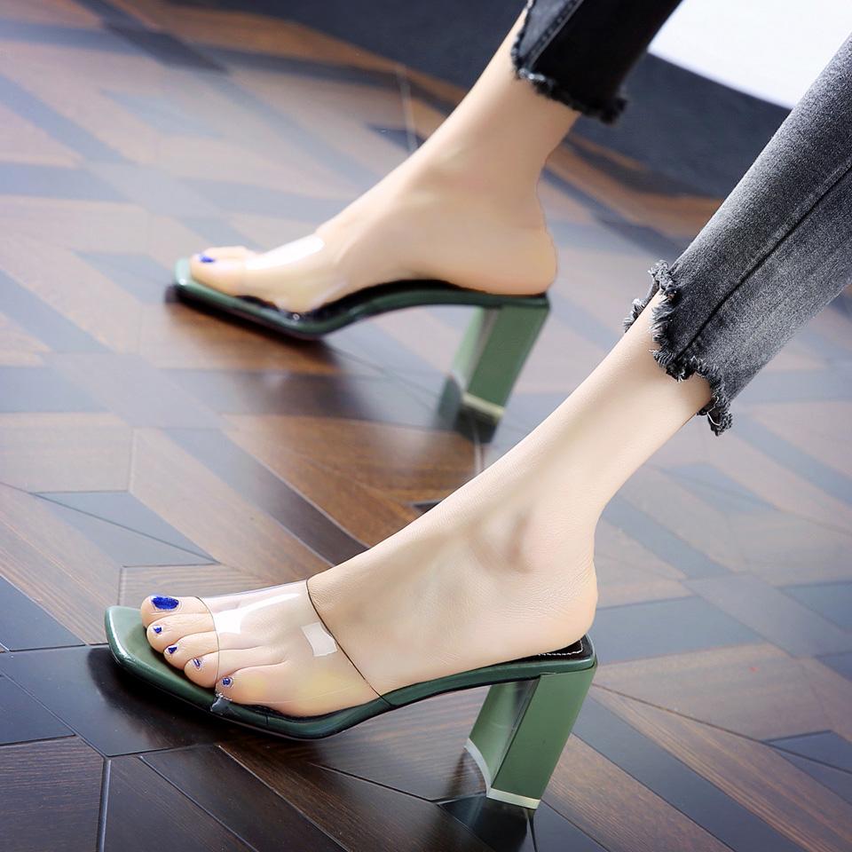 拖鞋 夏季 新款 透明 高跟鞋