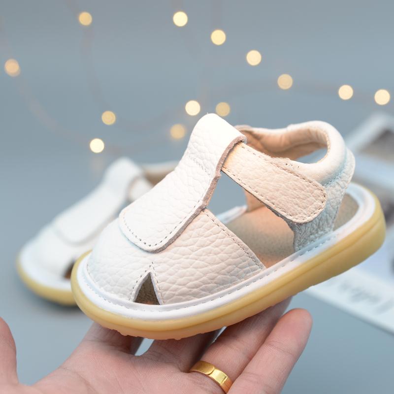夏季新款宝宝学步鞋0-3岁真皮软底婴儿鞋小童包头凉鞋1-2幼儿童鞋