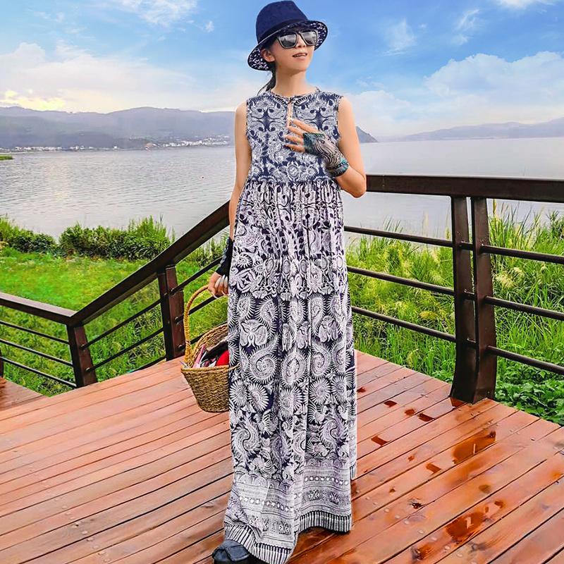 杨丽萍设计2017原创复古印花长袖同款 民族风 棉麻秋连衣裙女季装