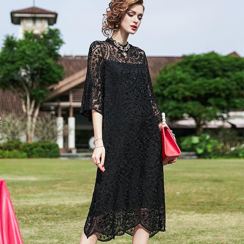 春夏新款黑色蕾丝重工刺绣裙子