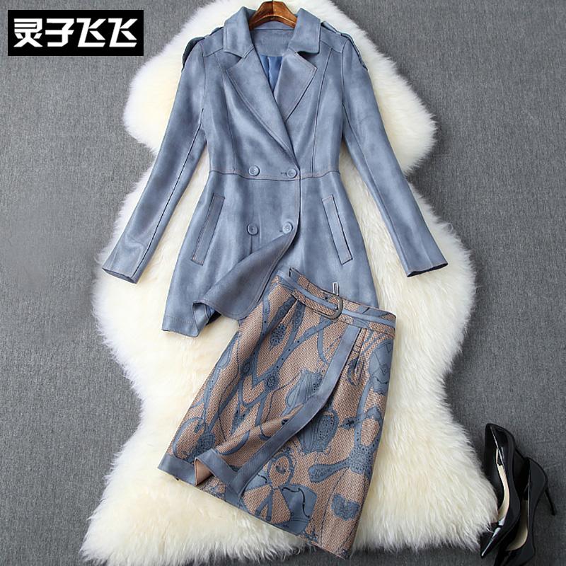 秋装中长款长袖收腰双排扣西装外套印花鹿皮绒半裙两件套连衣裙女
