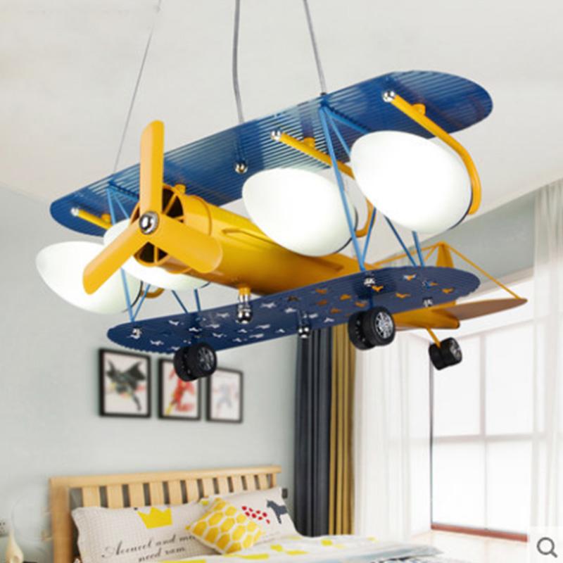 美式儿童房飞机灯具儿童吊灯卧室LED灯男孩房间卡通灯饰简约现代-童童屋灯饰
