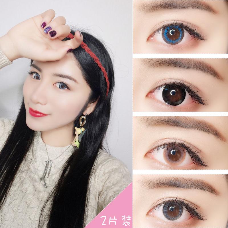 2片装美瞳欧美混血年抛大小直径隐形近视眼镜网红同款男女韩国JY
