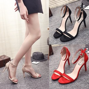 Shoes women 2020 new word buckle with fine heel women sandals women black high heel suede wild open toe women's shoes