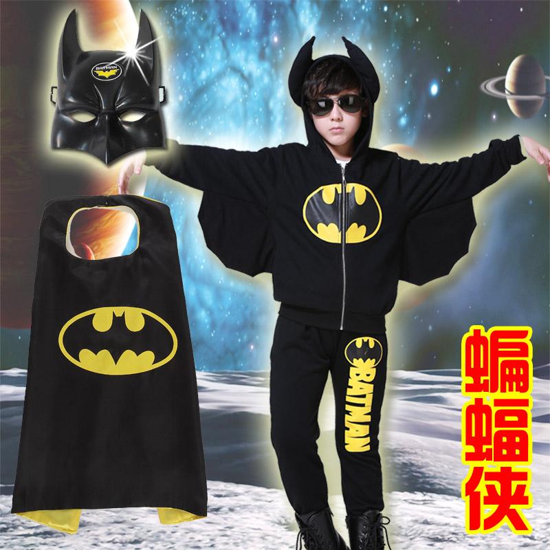 男童秋冬款加绒加厚套装男孩宝宝蝙蝠侠小孩万圣节表演服道具cos