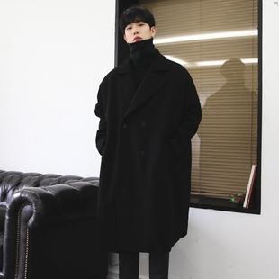 男士毛呢大衣男长款过膝英伦风宽松大码韩版潮流风衣加厚冬季外套图片