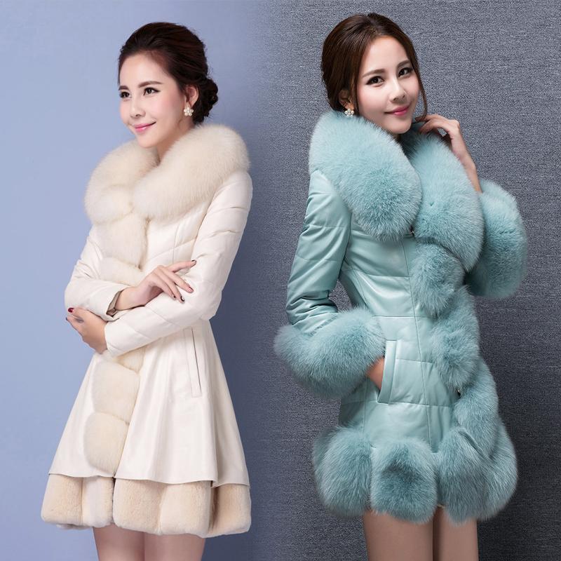 反季特价海宁冬韩版女中长款PU皮大衣仿狐狸毛领皮草修身显瘦外套