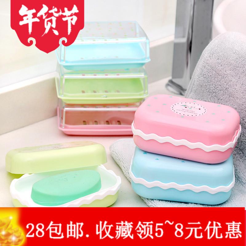 创意浴室双层肥皂盒旅行便携式塑料带盖肥皂架沥水香皂盒手工皂托