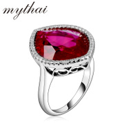 Korean fashion ladies Thai ring 925 silver plated finger ring exaggerated large gemstone rings