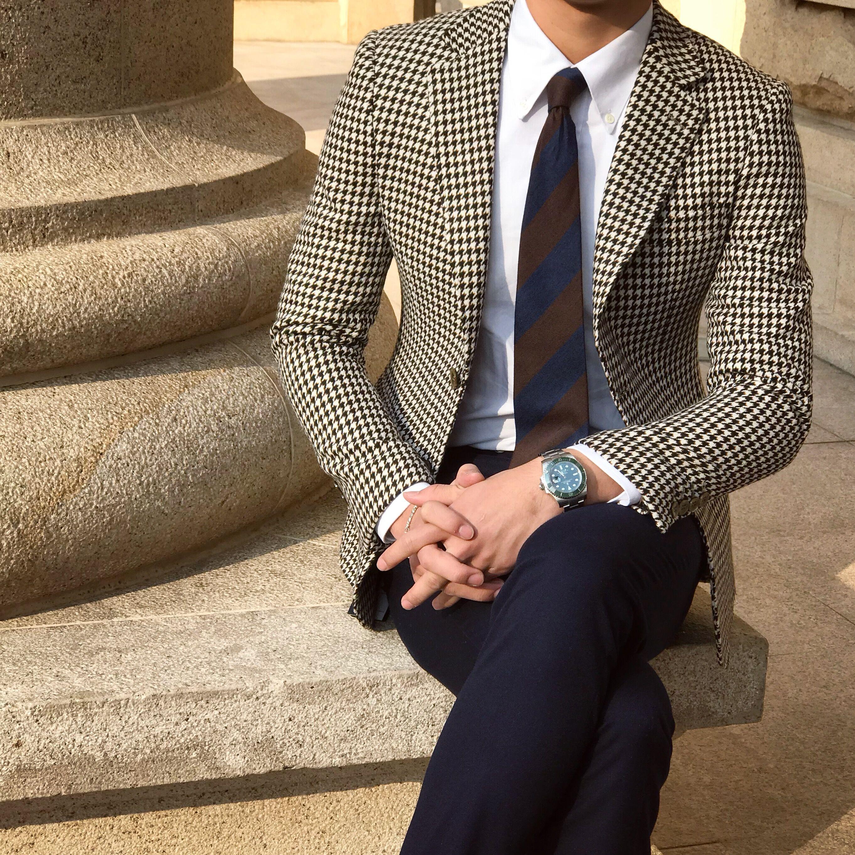 鹿三先生男士秋季复古千鸟格小西装英伦绅士休闲百搭修身西服外套