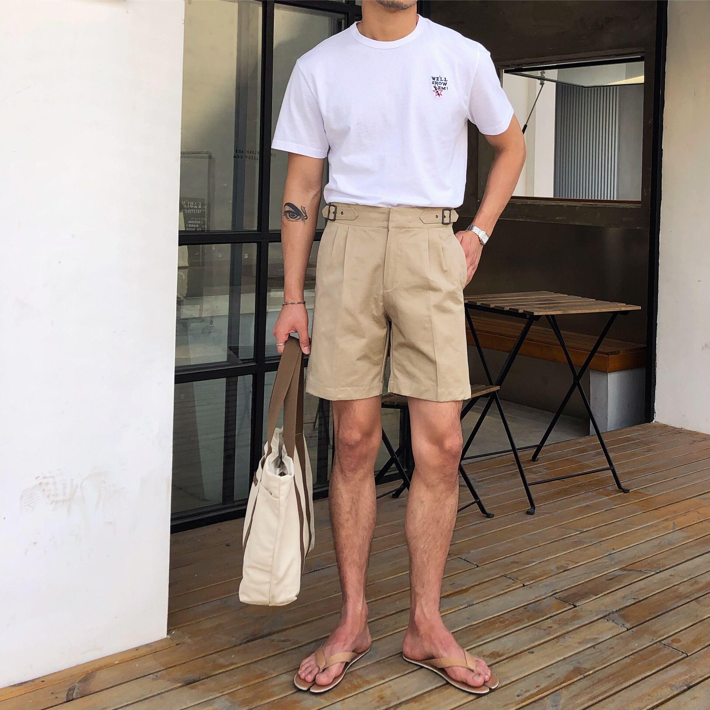 鹿三先生自制男装夏季修身日常短裤韩版个性休闲复古五分裤子潮男