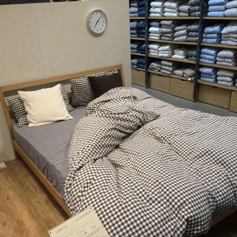 水洗棉四件套全棉纯棉格子简约良品床上用品三件套男宿舍床单被套