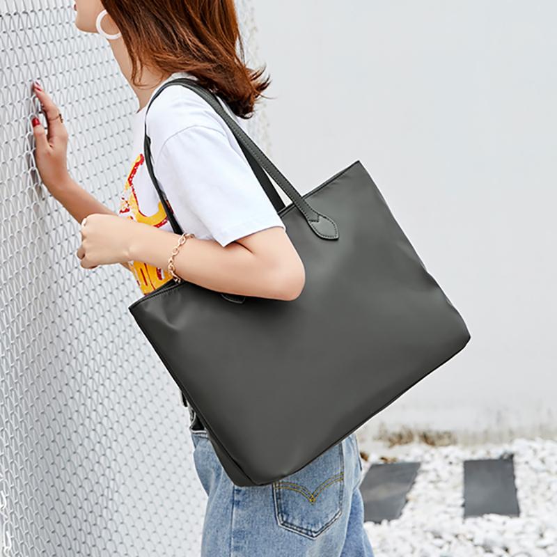 2019新简约帆布包托特包尼龙布包手提女包大容量包包单肩包女大包