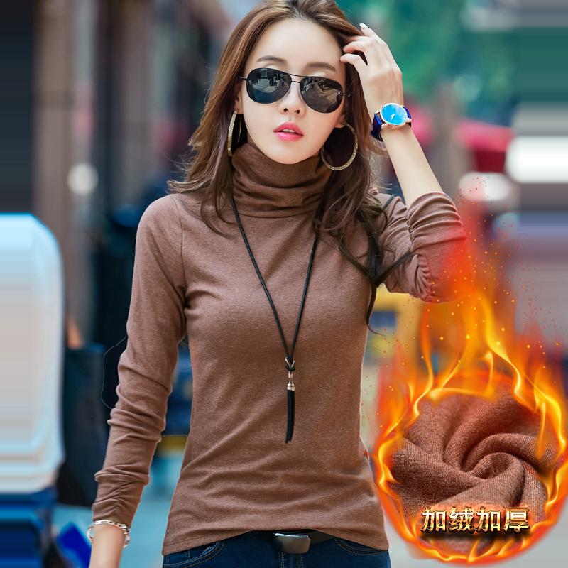 秋冬高领打底衫女加绒加厚长袖t恤修身堆堆领纯棉百搭紧身小衫潮