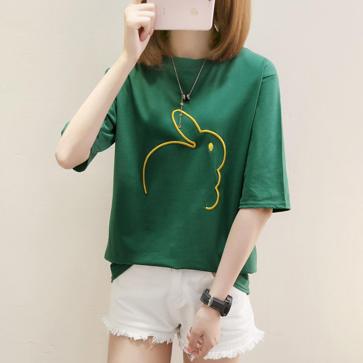 1349*绣花兔 绿色