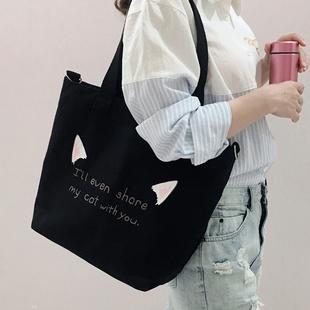帆布包女单肩斜挎包包ins布袋大学生上课日系文艺简约大容量韩版图片