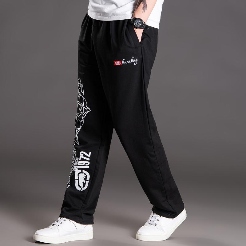 户外薄款卫裤男休闲裤 大码肥佬裤加肥加大运动裤 嘻哈宽松卫裤