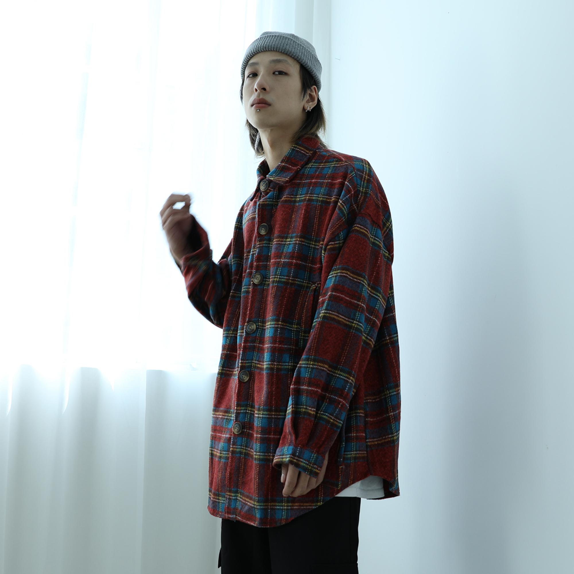 [¥84]港味oversize潮撞色格子衬衣男女复古加厚毛呢料长袖衬衫秋冬外套