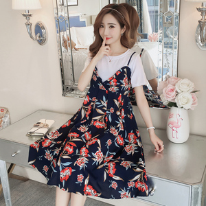 Maternity skirt summer 2018 new fashion short-sleeved chiffon dress tide mother two suit out breastfeeding