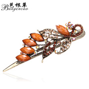 Bagen grass hair accessories Korean version crack retro cross rhinestone tiara hair clip hairpin Korea jewelry