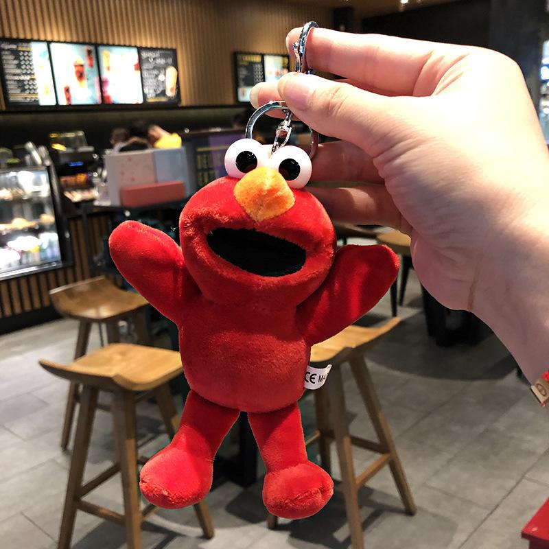 芝麻街钥匙扣女毛绒长腿青蛙挂件韩国可爱搞怪书包包挂饰ins玩偶图片