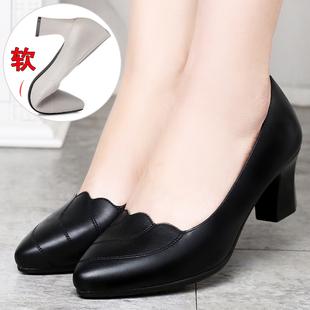 妈妈鞋真皮软底舒适浅口中跟中老年皮鞋女粗跟中年春秋女式 单鞋