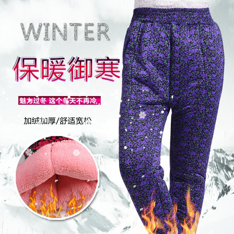 中老年加绒加厚棉裤冬季 爸爸装高腰宽松保暖裤 老人护膝加肥棉裤