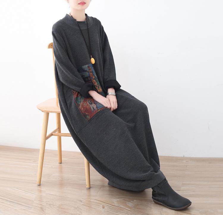 18春秋季新款原创设计宽松大码不对称拼接复古不对称连衣长裙袍子