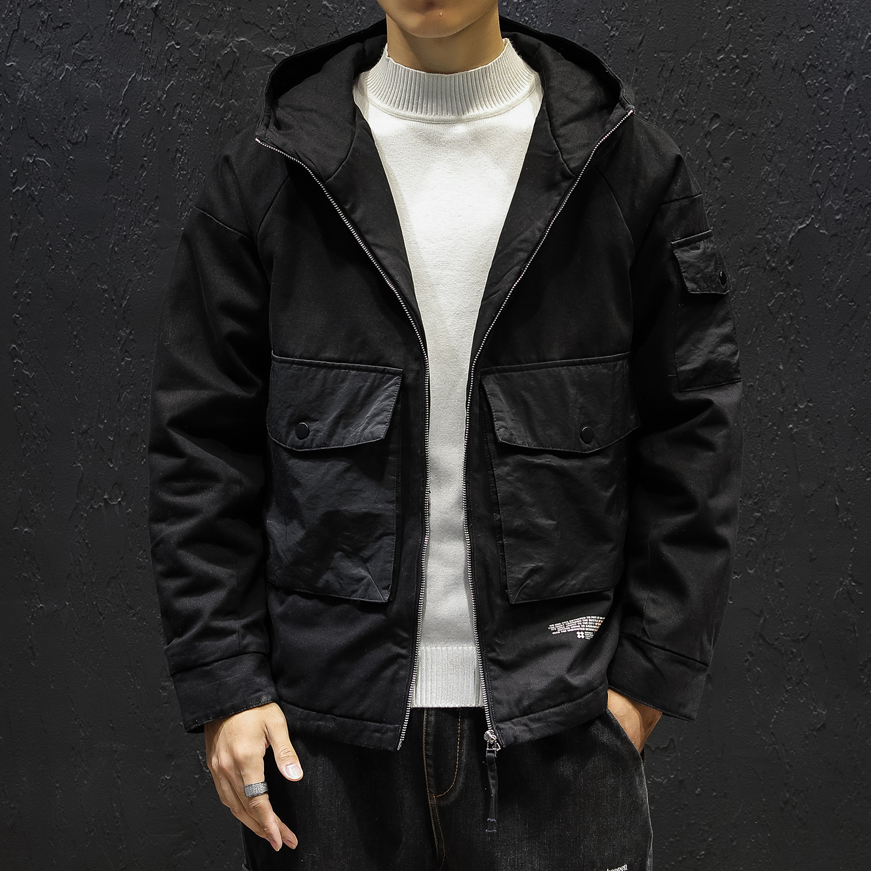 工装 冬装男士连帽棉衣日系19新品潮牌休闲外套棉1986p125