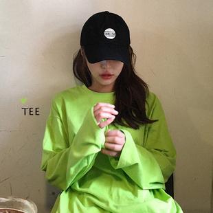 糖果色打底衫中长款宽松长袖t恤女学生ins潮2019秋季韩版绿色上衣