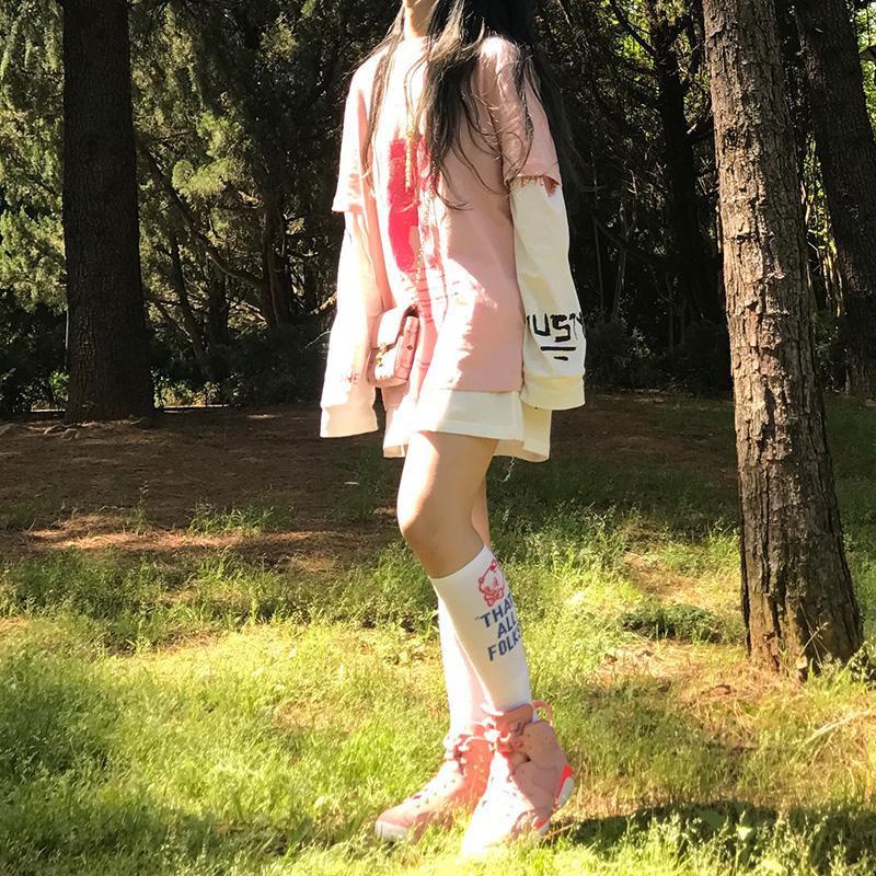 早秋季ins韩版原宿风bf嘻哈涂鸦网红上衣宽松粉色长袖T恤女学生潮