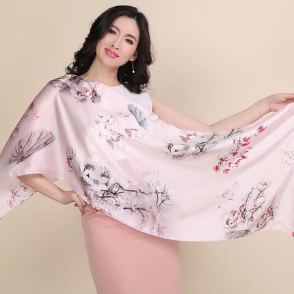杭州丝绸真丝丝巾女春季桑蚕丝围巾长款防晒披肩夏季百搭新款2018