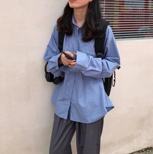 韩版宽松长袖休闲蓝色单排扣衬衫上衣女装秋2020新款显瘦衬衣外套图片