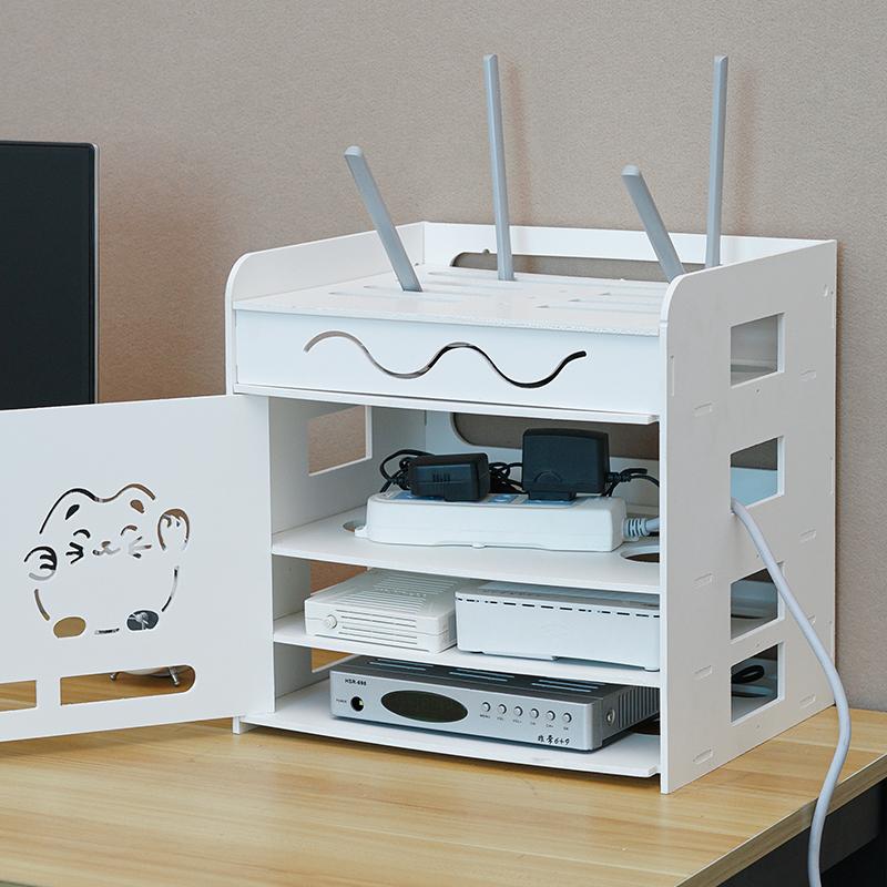 路由器收纳盒wifi收纳盒电线收纳插线板收纳盒免打孔置物架机顶盒