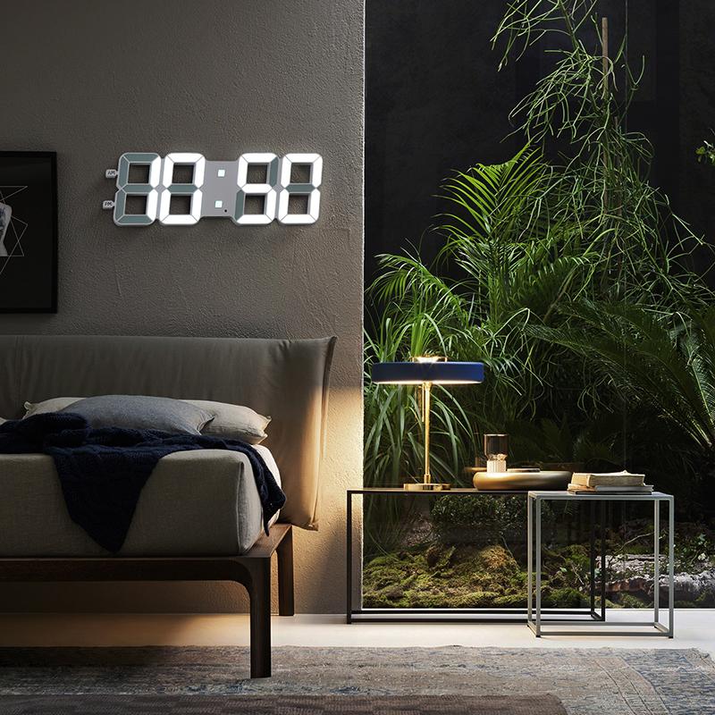 宏创 创意简约挂钟客厅立体钟万年历电子钟数字时钟钟表静音夜光