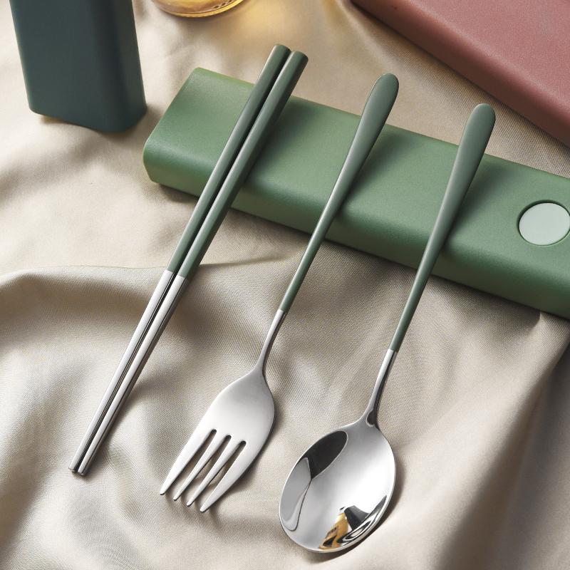 便携餐具套装304不锈钢上班族成人学生旅行餐具筷子勺子叉三件套